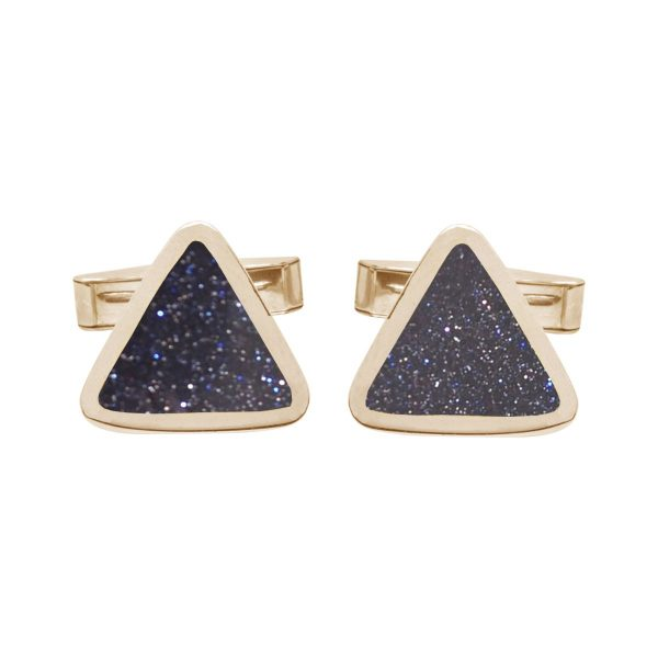 Yellow Gold Blue Goldstone Triangular Cufflinks