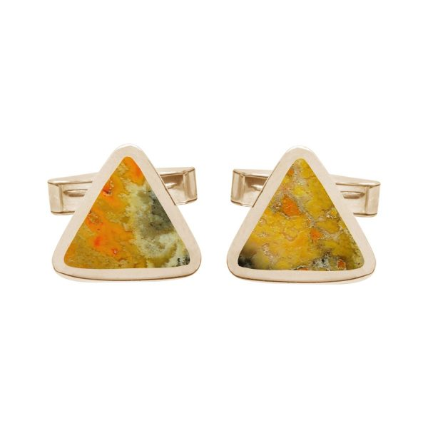 Yellow Gold Bumblebee Jasper Triangular Cufflinks
