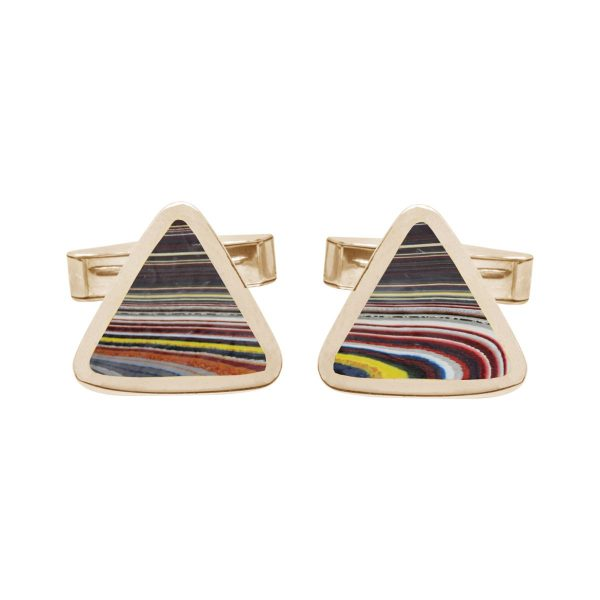 Yellow Gold Fordite Triangular Cufflinks