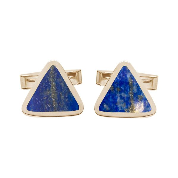 Yellow Gold Lapis Triangular Cufflinks