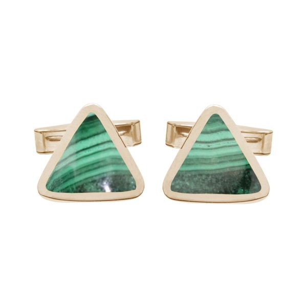 Yellow Gold Malachite Triangular Cufflinks
