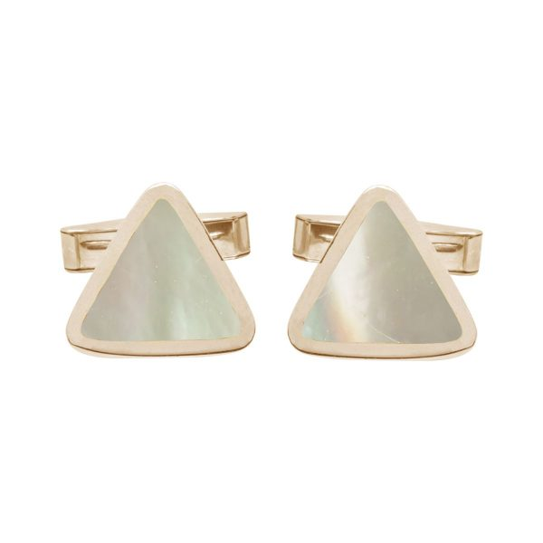 Yellow Gold Mother of Pearl Triangular Cufflinks