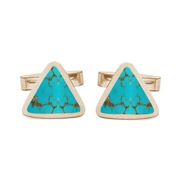 Yellow Gold Turquoise Triangular Cufflinks