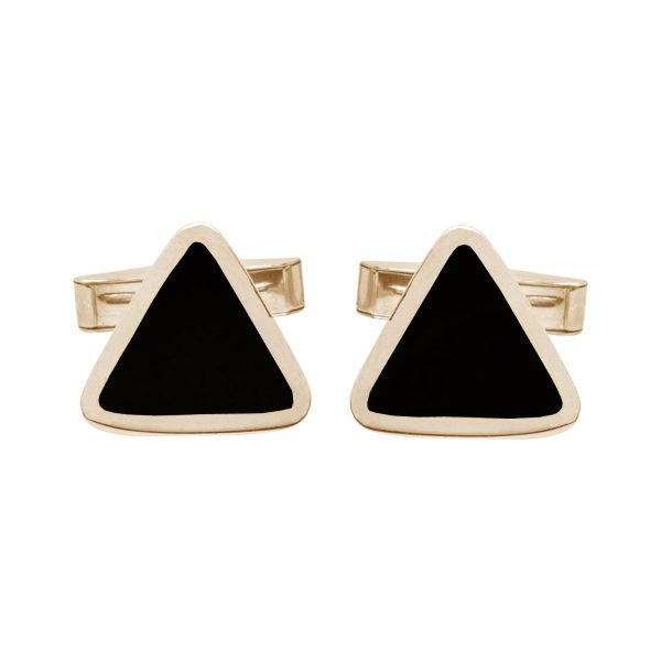 Yellow Gold Whitby Jet Triangular Cufflinks