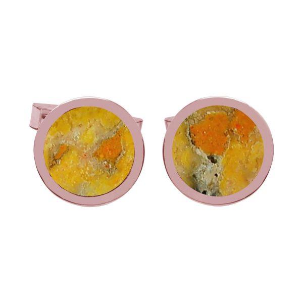 Rose Gold Bumblebee Jasper Round Cufflinks