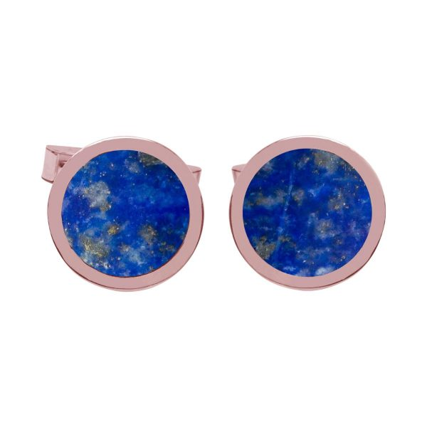 Rose Gold Lapis Round Cufflinks