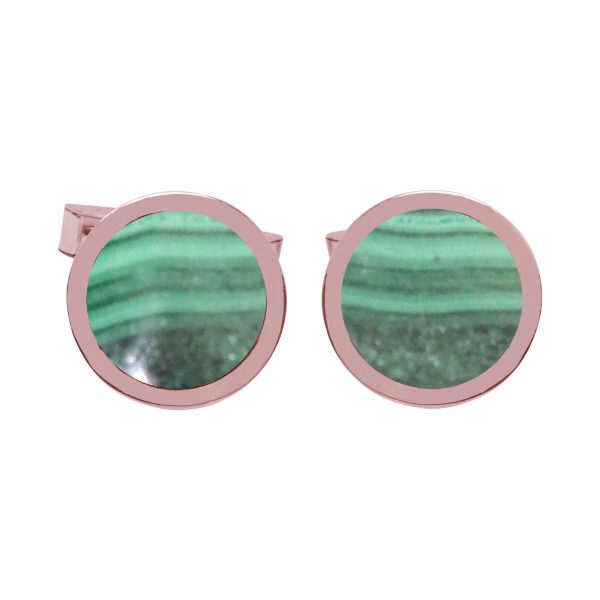 Rose Gold Malachite Round Cufflinks