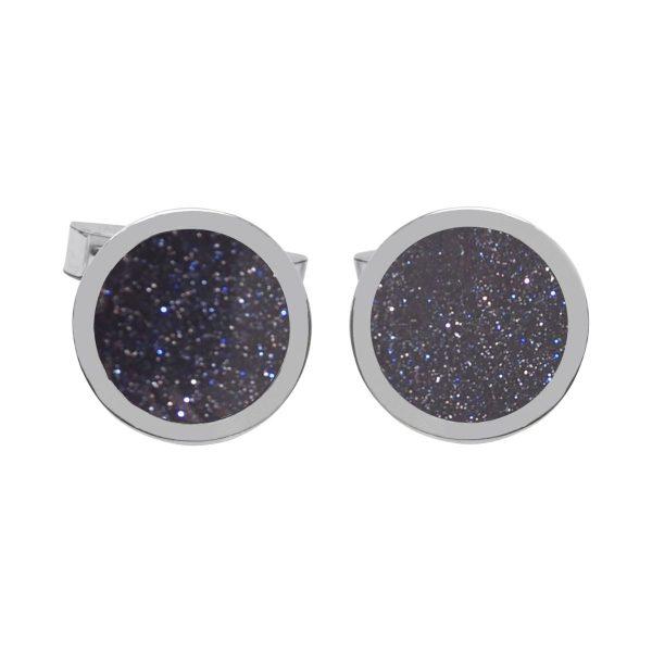 Silver Blue Goldstone Round Cufflinks