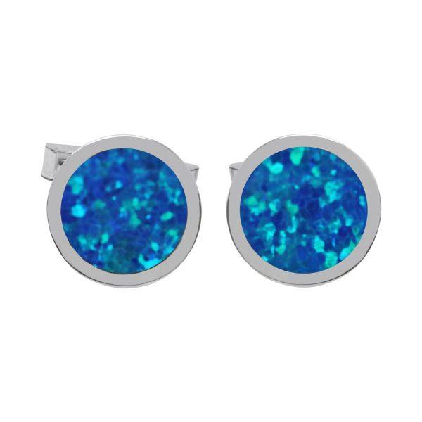 Silver Cobalt Blue Round Cufflinks