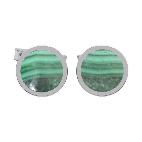 Silver Malachite Round Cufflinks