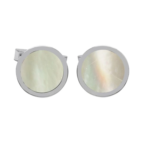 Silver Mother of Pearl Round Cufflinks