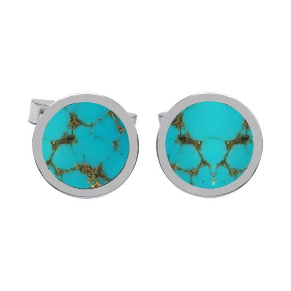 Silver Turquoise Round Cufflinks