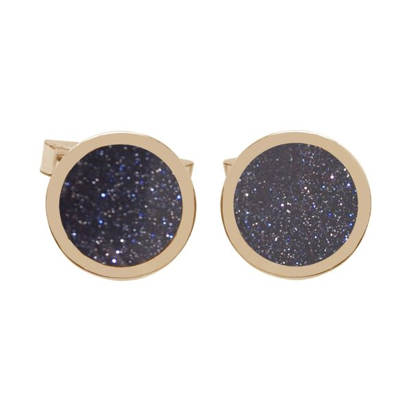 Yellow Gold Blue Goldstone Round Cufflinks