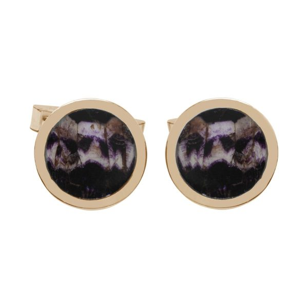 Yellow Gold Blue John Round Cufflinks