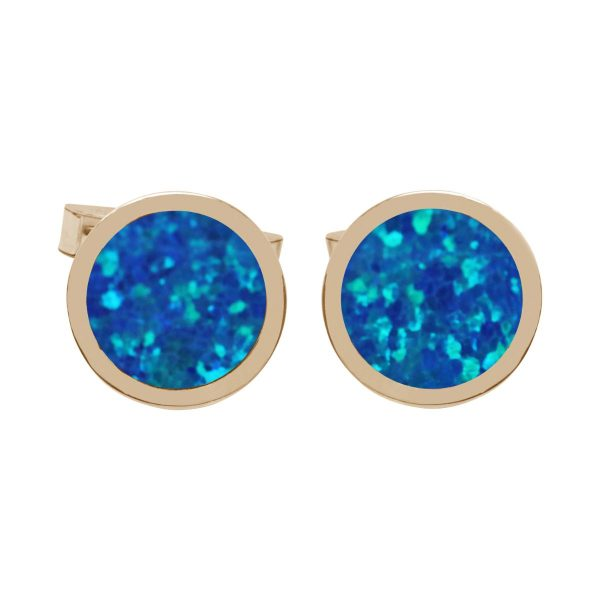Yellow Gold Cobalt Blue Round Cufflinks