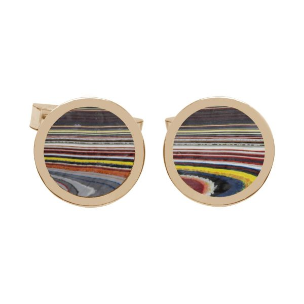 Yellow Gold Fordite Round Cufflinks