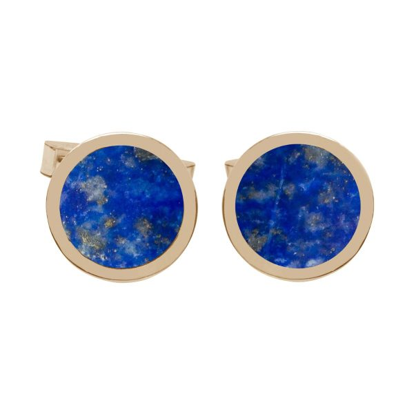 Yellow Gold Lapis Round Cufflinks