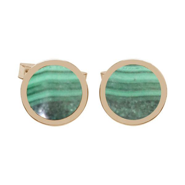 Yellow Gold Malachite Round Cufflinks