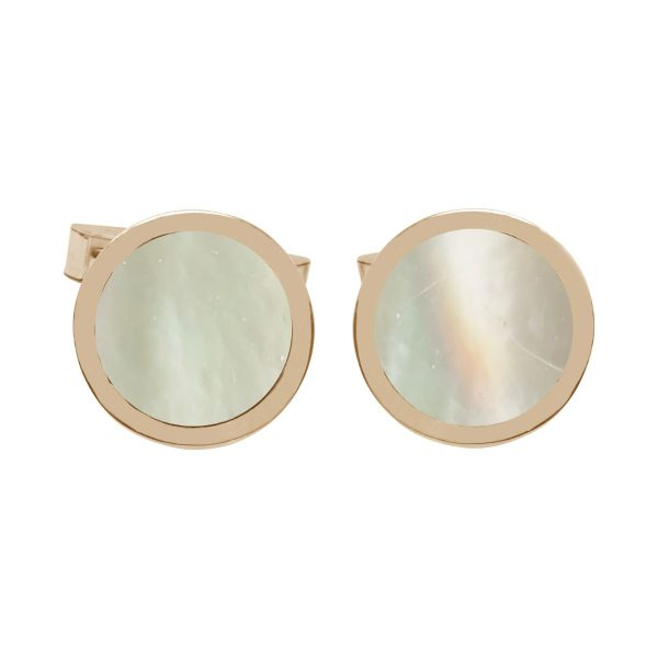 Yellow Gold Mother of Pearl Round Cufflinks