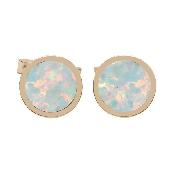 Yellow Gold Opalite Sun Ice Round Cufflinks