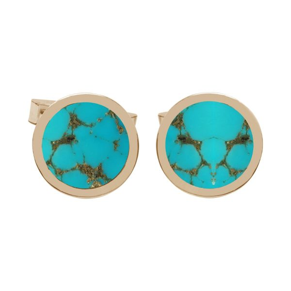 Yellow Gold Turquoise Round Cufflinks