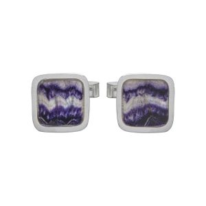 Silver Square Blue John Cufflinks