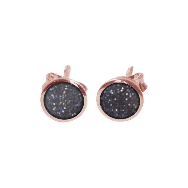 Rose Gold Blue Goldstone Round Stud Earrings