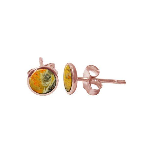 Rose Gold Bumblebee Jasper Round Stud Earrings
