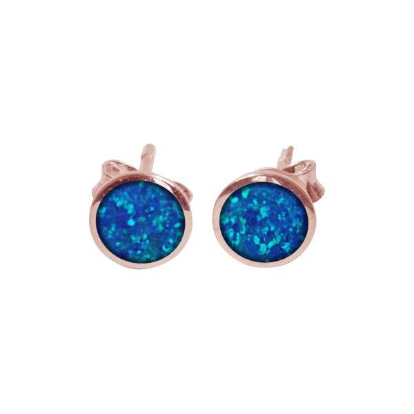 Rose Gold Cobalt Blue Opalite Round Stud Earrings
