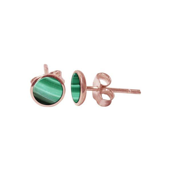 Rose Gold Malachite Round Stud Earrings
