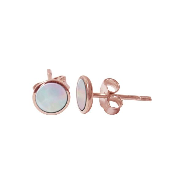Rose Gold Mother of Pearl Round Stud Earrings