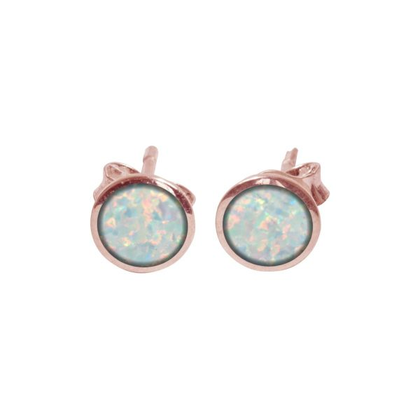 Rose Gold Sun Ice Opalite Round Stud Earrings