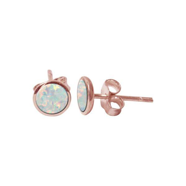 Rose Gold Sun Ice Oplaite Round Stud Earrings