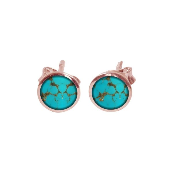 Rose Gold Turquoise Round Stud Earrings