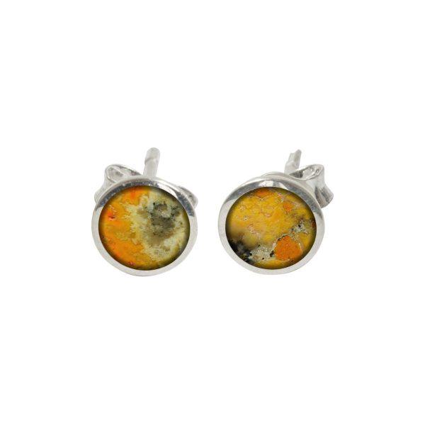 Silver Bumblebee Jasper Round Stud Earrings