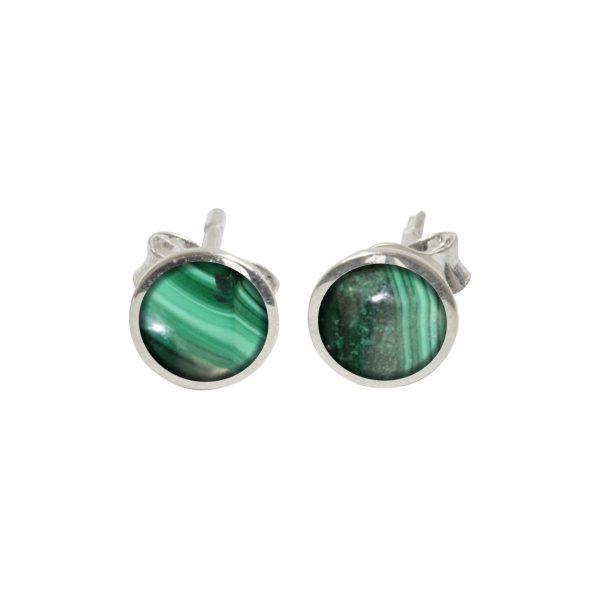SI;ver Malachite Round Stud Earrings