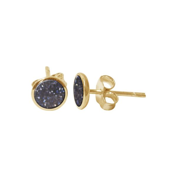 Yellow Gold Blue Goldstone Round Stud Earrings