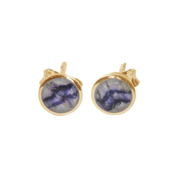 Yellow Gold Blue John Round Stud Earrings