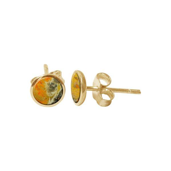 Yellow Gold Bumblebee Jasper Round Stud Earrings