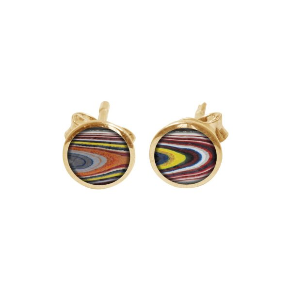 Yellow Gold Fordite Round Stud Earrings