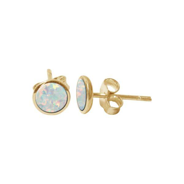Yellow Gold Sun Ice Opalite Round Stud Earrings