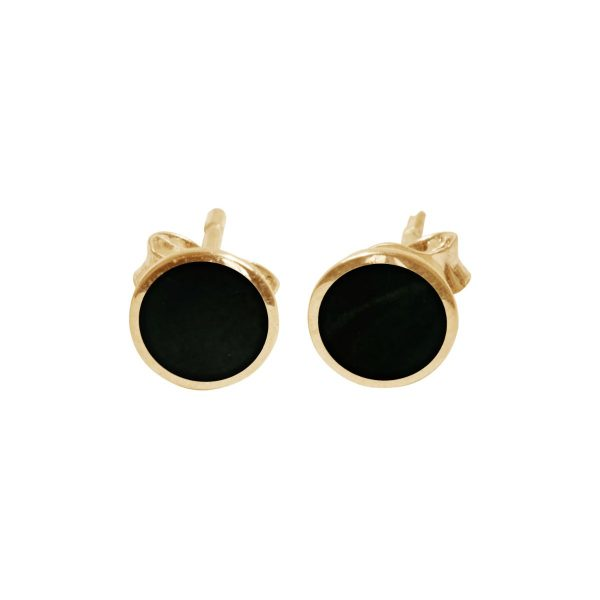 Yellow Gold Whitby Jet Round Stud Earrings