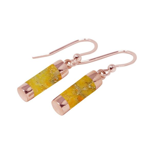 Rose Gold Bumblebee Jasper Drop Earrings