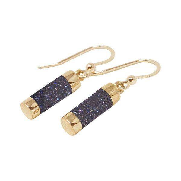 Gold Blue Goldstone Drop Earrings