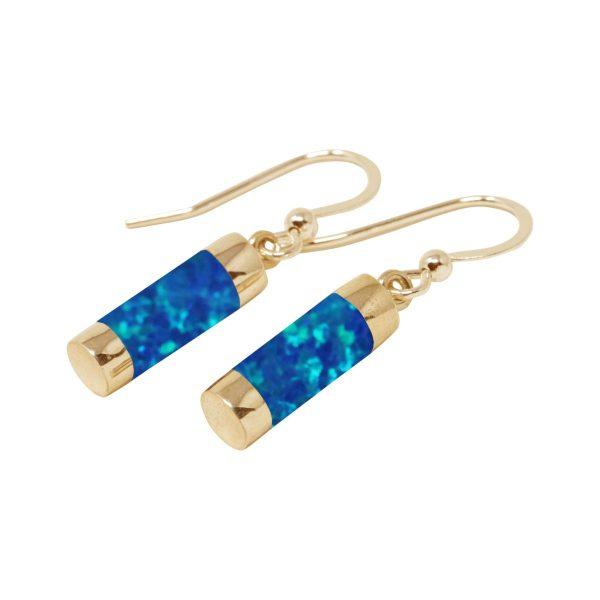 Gold Cobalt Blue Opalite Drop Earrings