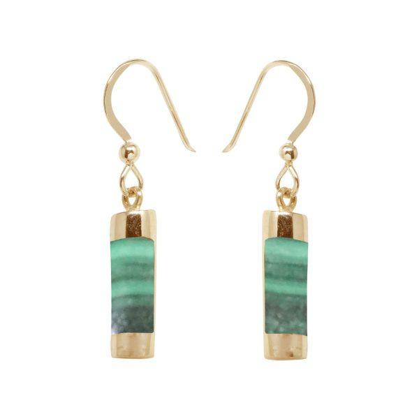 Gold Malachite Drop Earrings