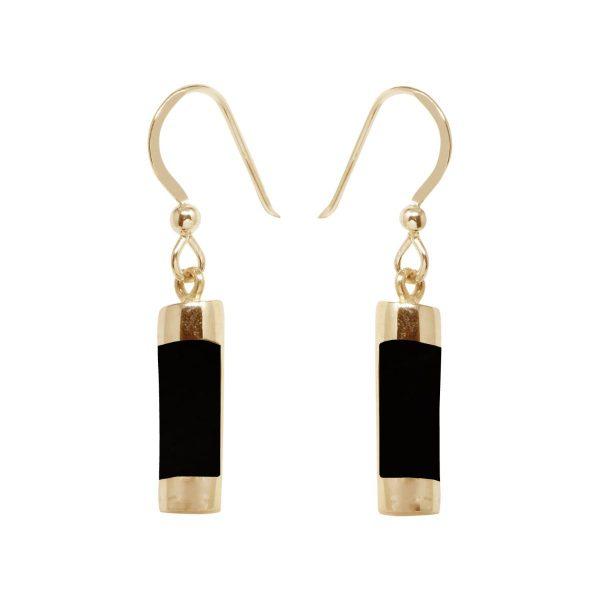 Gold Whitby Jet Drop Earrings