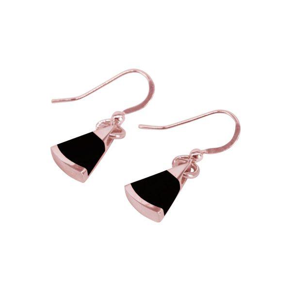 Rose Gold Whitby Jet Drop Earrings