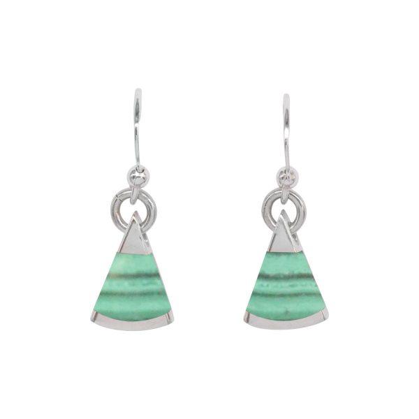 Silver Malachite Drop Earrings