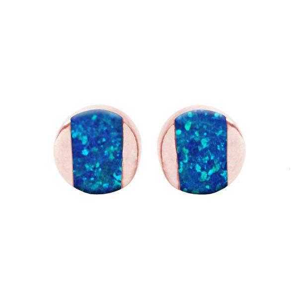 Rose Gold Cobalt Blue Opalite Stud Earrings